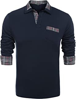 Men's Classic Casual Long Sleeve Plaid Collar Polo Shirt with Pockets