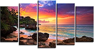 PIY Canvas Wall Art for Living Room, Beautiful Beach Sunset Pictures Canvas Prints (Multi, 5 Panels, Large, 32x60 Overall)
