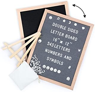 Tuffen Double Sided Felt Letter Board -16x12 Inches - Changeable Wooden Message Board w/ Easel and 543 Letters, Numbers & ...