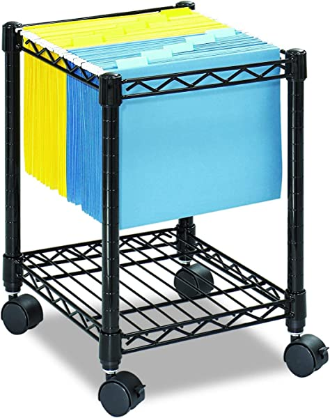Safco Products Compact Mobile Letter Size File Cart 5277BL Black Black Powder Coat Finish Swivel Wheels For Mobility