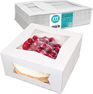 [25 Pack] Pie/Cake Box with Window 8x8x4