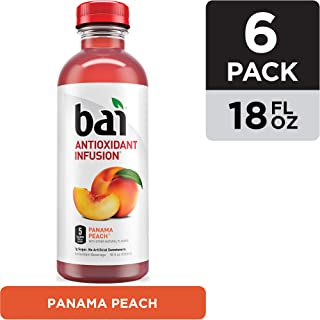 Bai Flavored Water, Panama Peach, Antioxidant Infused Drinks, 18 Fluid Ounce Bottles, 6 count