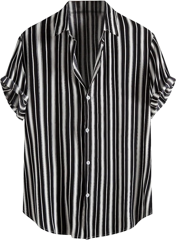 Shirts for Men Button Down Short Sleeve Plaid Shirt Tropical Aloha Hawaiian T-Shirt