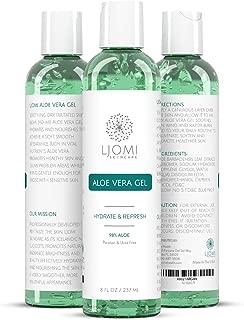 Ljomi Aloe Vera Gel - Sunburn Relief Lotion - Natural Leaf Extract Moisturizer For Hair, Face, Body