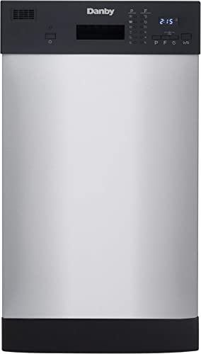 Danby 18 Inch Built in Dishwasher, 8 Place Settings, 6 Wash Cycles and 4 Temperature + Sanitize Option, Energy Star R...