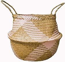 Natural Craft Seagrass Belly Basket (Merge) Medium Pink