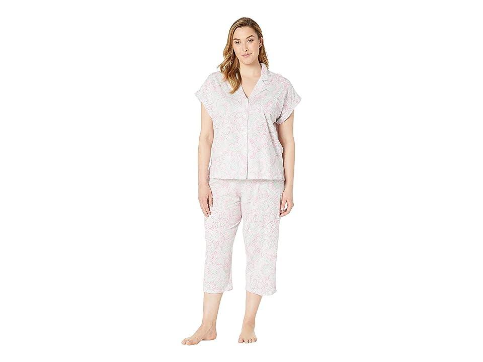 LAUREN Ralph Lauren Plus Size Short Dolman Sleeve Notch Collar Capri Pajama Set (Pink Paisley Print) Women
