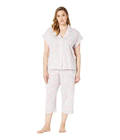 LAUREN Ralph Lauren Plus Size Short Dolman Sleeve Notch Collar Capri Pajama Set (Pink Paisley Print) Women