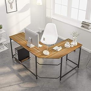 Weehom L Shaped Desk Corner Gaming Computer Desks for Home Office PC Workstation Table,Walnut