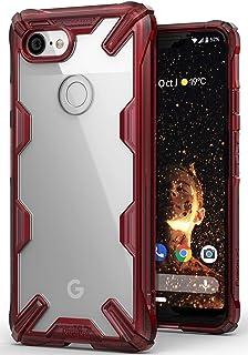 جراب شفاف من رينجكي مقاوم للصدمات لهاتف جوجل بيكسل 3 اكس ال (Google Pixel 3 XL)- شفاف باطار احمر