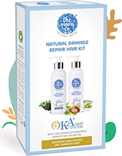 The Moms Co. Natural Damage Repair KA + Hair Care Kit with Hair Shampoo & conditioner with Keratin and Moroccan Argan Oil for Dry & Damaged Hair 400 ML
