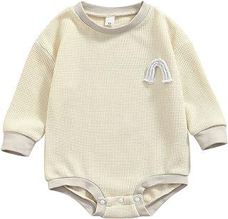 حديثي الولادة كتلة اللون رومبير، طفل رينبو نمط طويل الأكمام جولة الرقبة فاف منقوشة حلزات (Color : Beige, Size : 18M)