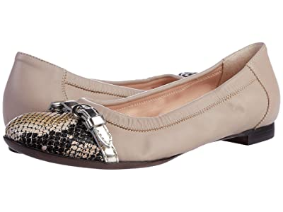 AGL Cap Toe Ballet Flat (Snakeskin/Poudre) Women