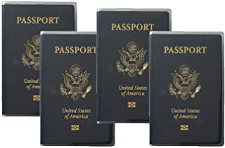 Set of 4 Heavy Duty Clear Vinyl Plastic Passport Cover Holder Travel Made in USA