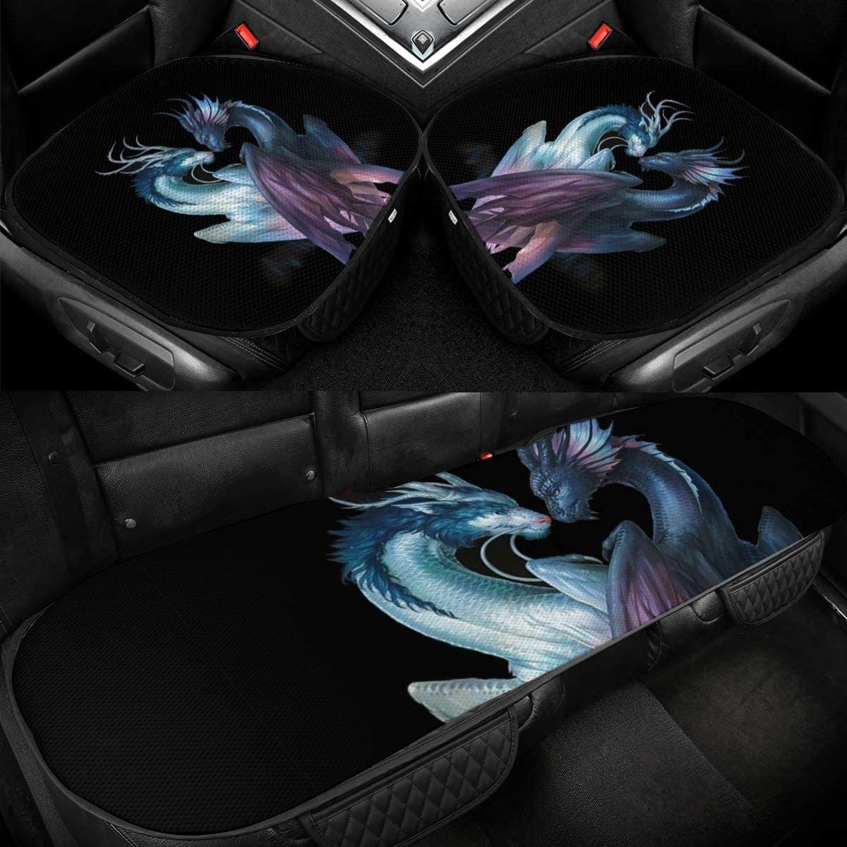 Kunming~ Ying Yang Dragons Max 59% OFF Grunge Car Seats Seat Onl Selling rankings Front Cover