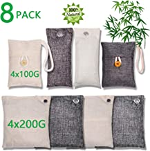 Bamboo Charcoal Air Purifying Bag (8 Pack), 200g,100g Natural Air Freshener Bags, Activated Charcoal Odor Eliminators, Car Air Purifier, Closet Freshener, Home Air Freshener