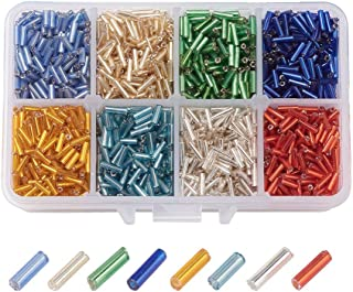Pandahall 8 Colors Silver Lined Glass Bugle Seed Beads 6x1.8mm Tube Loose Spacer Beads Hole: 0.6mm for DIY Jewelry Making