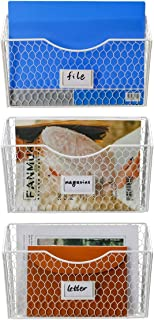 PAG 3 Pockets Hanging File Organizer Wall Mount Mail Holder Metal Chicken Wire Magazine Rack with Tag Slot, White