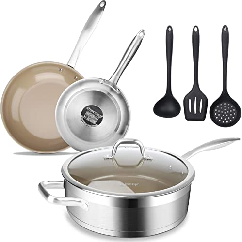 Duxtop 7PC Stainless Steel Ceramic Coated Nonstick Pans Set, Induction Frying Pans, Non-stick Saute Pan with Lid, Impact-bonded Technology, FUSION Titanium Reinforced Ceramic Coating