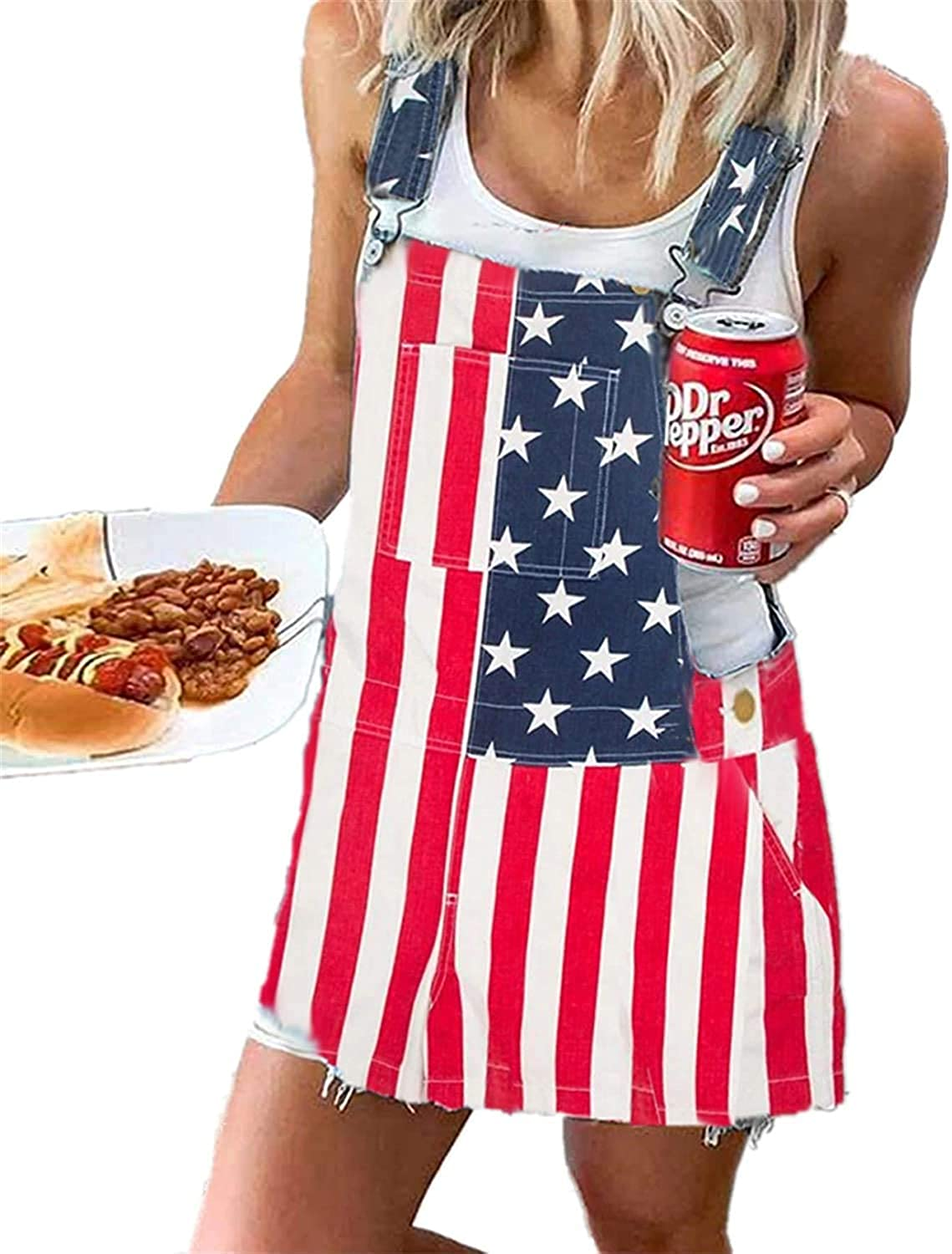 Women Denim Overall Dress Adjustable Jumpsu Straps Flag American Same excellence day shipping