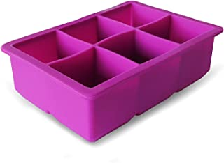 Elbee Premium Large Silicone Ice Cube Tray - Makes 6 Giant 2 Inch Ice Cubes - Purple; Great for Cocktails, Whiskey, Water; FDA Grade and BPA Free Flexible Ice Molds 2 Pack