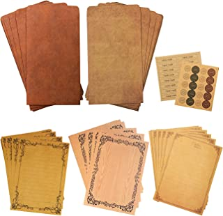 """ADVcer Vintage Stationary Paper and Kraft Envelopes Set with Seal Stickers, 72pcs 3 Patterns 8.3x5.7"""" Writing Stationery P..."""