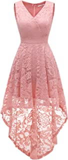 Women's Sleeveless Hi-Lo Lace Prom Dress Cocktail Party Gowns