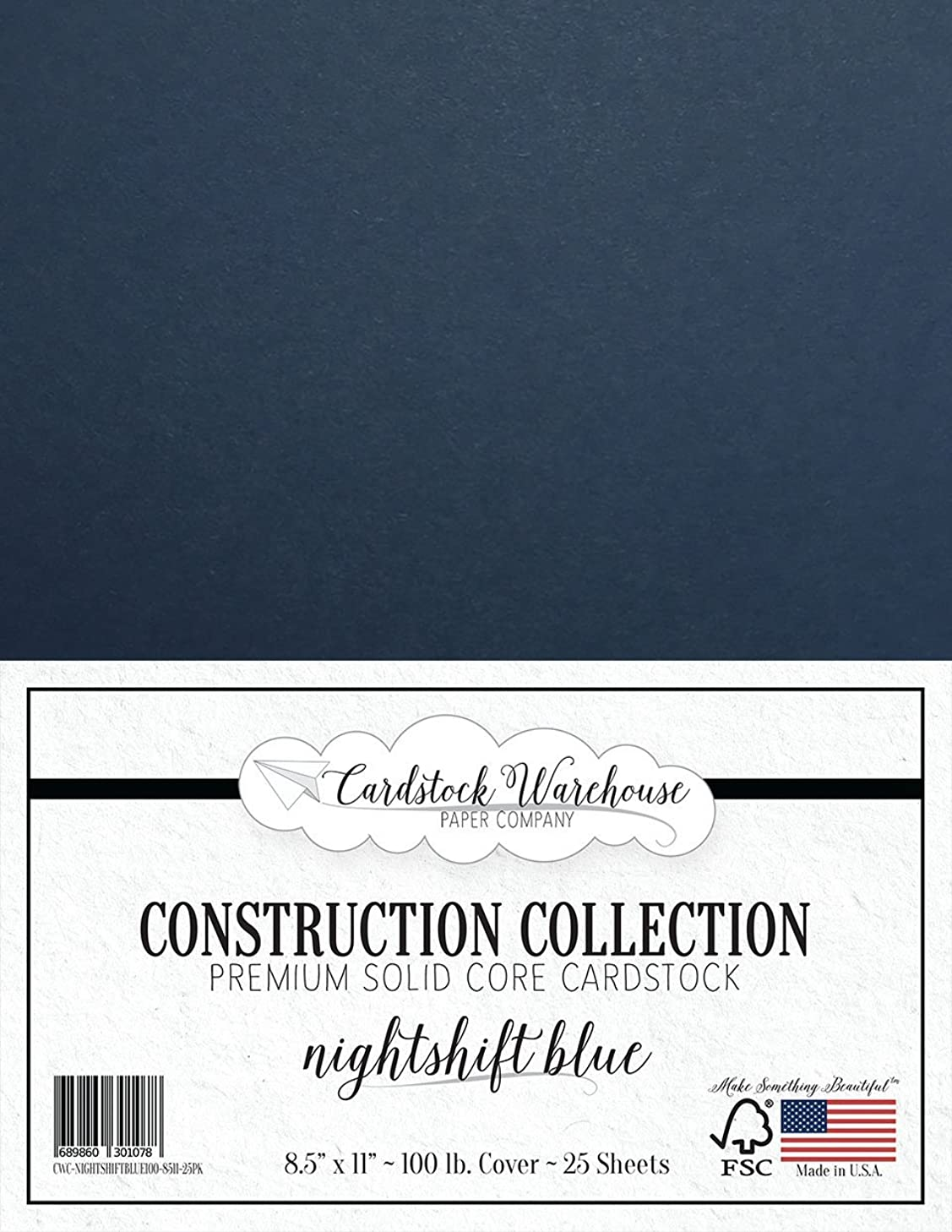 NIGHTSHIFT Blue/Dark Blue Cardstock Paper - 8.5 x 11 inch Premium 100 LB. Cover - 25 Sheets from Cardstock Warehouse