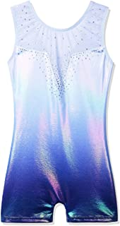 BAOHULU Toddler Girls Gymnastics Leotards Blue Lighting Fancy Sparkle Biketards with Shorts