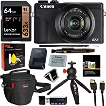Canon PowerShot G7X Mark III 20.1MP 4K Digital Camera (Black) with 4.2X Optical Zoom Lens 24-100mm f/1.8-2.8 Black 3637C001 with 64GB Memory, Tripod, Camera Bag, HDMI Cable, Cleaning Kit Bundle
