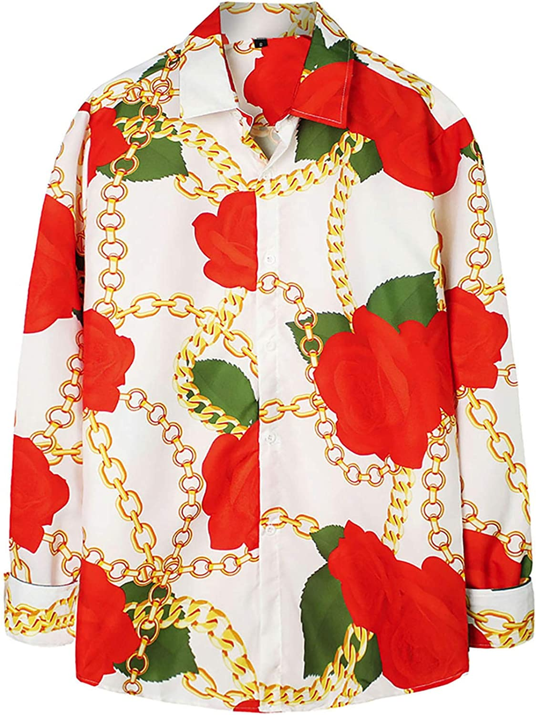 Men's Long Sleeve Button Down Shirts Casual Regular-Fit Printing Hawaiian Blouse Tops Standard-Fit