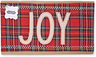 Mud Pie Classic Christmas Tartan Holiday Pillow Wrap (Joy)