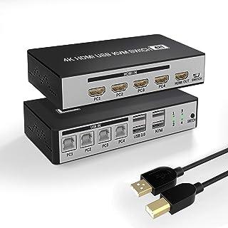 KVM HDMI USB Switch, conmutador USB 4K HDMI Switcher Box 4 en 1 salida para 4 computadoras compartir, teclado y ratón, sop...