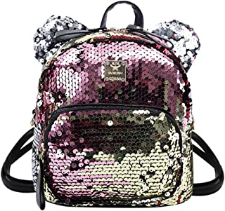 Eilova Bling Sequins Backpack Mini Girls Shoulder Bag Satchel with Cute Ear, Gold (Gold) - EObb-18350601H-01