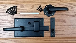 Heavy Duty Cottage Gate Latch Kit with Lever for Doors or Gates, Black, Right Hand