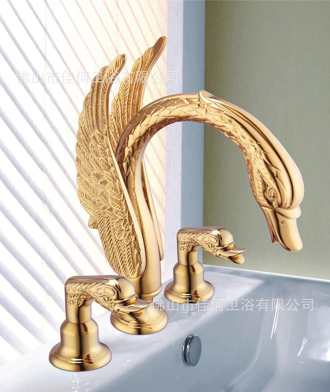 Dahuuyus Modern Style Elegant und praktisch Home Küche und Badezimmer faucetsa Full Set von drei verGoldet Kupfer Waschbecken europischen Antik Golden Schwan Waschbecken Wasserhahn