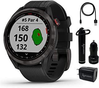 $309 » Garmin Approach S42 Premium GPS Golf Watch, Gunmetal with Black Silicone Band and Wearable4U Power Pack Bundle