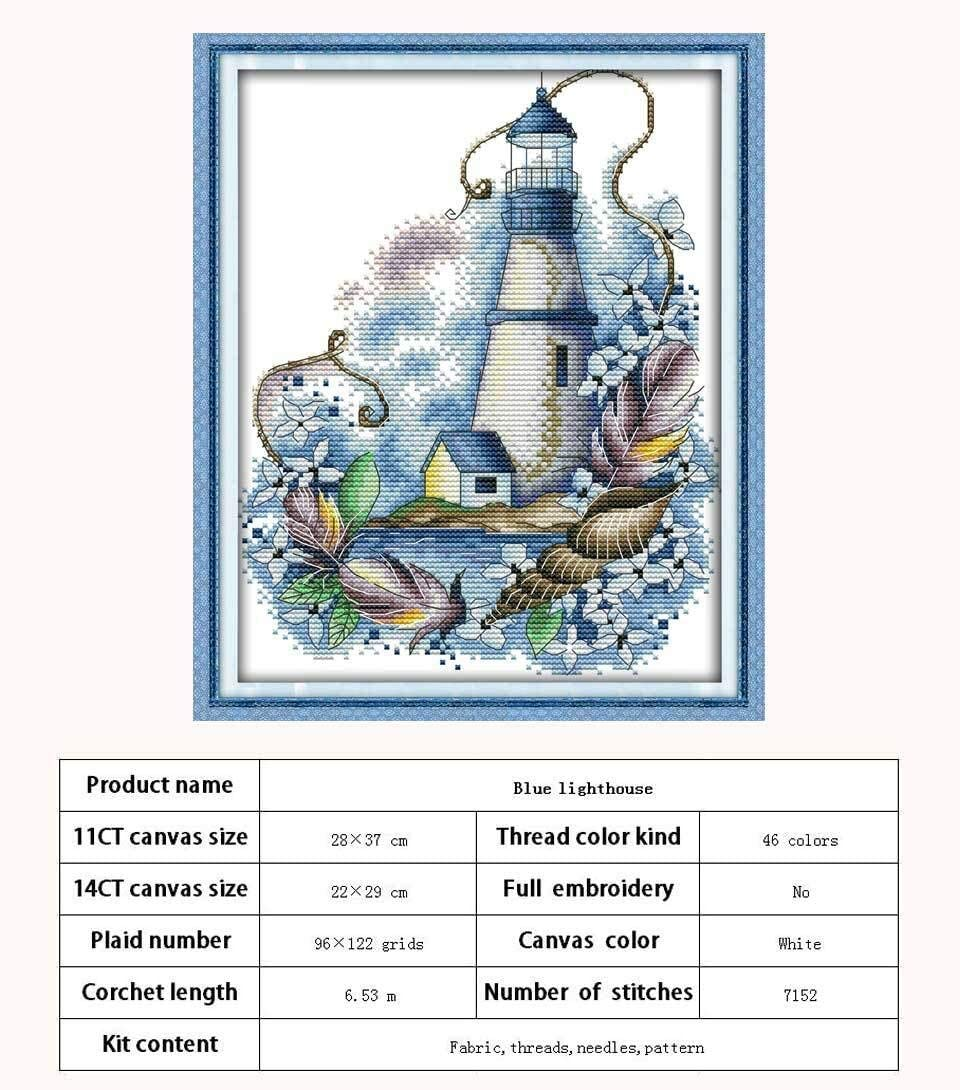 sdfpj The Tower Lighthouse Garden Series Counted Cross Stitch Handmade 11CT 14CT Scenery Cross Stitch Kits Embroidery for Needlework Gift