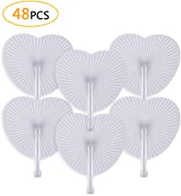Cusfull 48 Pack White Folding Paper Fans Handheld Paper Fans for Wedding/Party/Party Favours (Heart Shape)