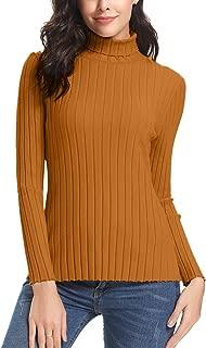 Abollria Women's Long Sleeve Solid Lightweight Soft Knit Mock Turtleneck Sweater Tops Pullover