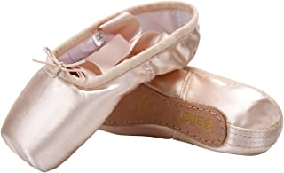 Girls and Women Dance Shoe Professional Level Pink Satin Ballet Pointe Shoes with Ribbon and Toe Pads