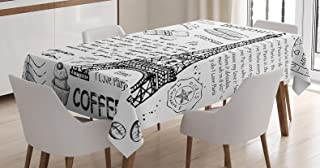 Ambesonne Paris Tablecloth, Traditional Famous Parisian Elements Bonjour Croissan Coffee Eiffel Tower Print, Dining Room Kitchen Rectangular Table Cover, 52