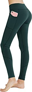 Keolorn Women's High Waist with Pocket Yoga Pants Tummy Control Workout Running 4 Way Stretch Yoga Leggings