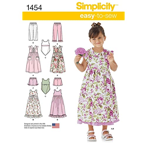71acb4a0963e Simplicity Easy-to-Sew Pattern 1454 Girls Dress, Slip Dress or Top and