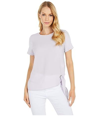 MICHAEL Michael Kors Woven Mix Tie Short Sleeve Tee (Lavender Mist) Women