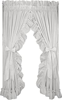 Window Toppers Stephanie Country Style Ruffle Priscilla Curtains Pair 86-Inch-by-84-Inch - 1 1/2 Inch Rod Pocket, White