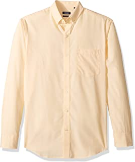 Men's Button Down Long Sleeve Stretch Performance Solid Shir