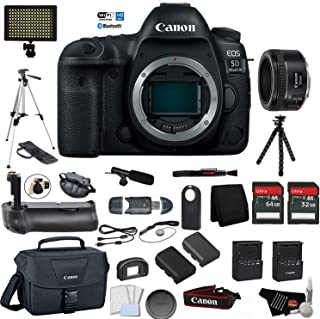 Canon EOS 5D Mark IV Full Frame Digital SLR Camera Body - Bundle with Canon EF 50 F 1.8 STM Lens Battery Grip + Microphone + Screen Protectors + More (International Version)