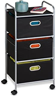 Honey-Can-Do CRT-02184 Rolling Storage Cart, Black/Chrome