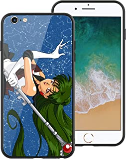 Anime Comic Manga Sailor Moon 102 Design, Tempered Glass Case for iPhone6 Plus, Soft Silicone Bumper Anti-Scratch Ultra-Thin Phone Cover for Girls, Teens